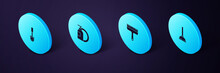 Set Isometric Rubber Plunger, Cleaner For Windows, Dishwashing Liquid Bottle And Plate And Toilet Brush Icon. Vector.