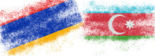 Conceptual Photo With The Flags Of Azerbaijan And Armenia During The Aggravation Of Relations Between Them.
