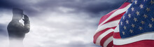 American National Holiday. US Flag Background With American Stars, Stripes And National Colors. Soldier. Memorial Day Or Veterans Day Concept.