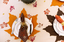Overhead View Of Thanksgiving Dinner Table Place Setting