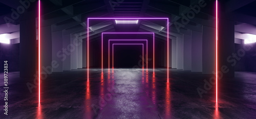 Neon Laser Electric Glowing Purple Red Blue Lights In Sci Fi Futuristic Warehous Fototapeta