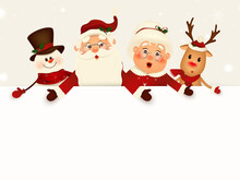Christmas Cartoon Character Companions With Big Blank Signboard, White Copy Space. Wide Empty Space For Design. Santa Claus, Mrs Claus, Reindeer, Snowman With Big Blank Signboard. Vector Illustration