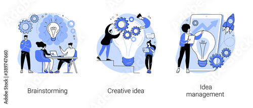 Creative thinking abstract concept vector illustration set. Team brainstorming, idea management, project management, startup collaboration, find solution, product development stage abstract metaphor.