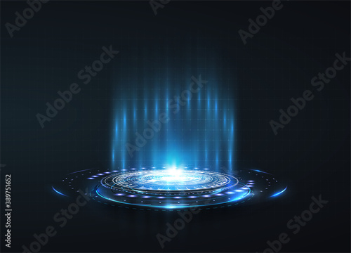 Portal and hologram futuristic circle on blue isolate background. Abstract high tech futuristic technology design. round shape. Circle Sci-fi elements with light and lights.