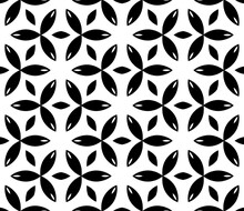 Black, White Floral Pattern, Geometric Wallpaper , Seamless Texture With Flat Ornament, Decorative Illustration With Simple Elemets