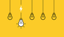 Creative Idea. Set Of Hanging From Above Light Bulbs. Light Bulb With Cable And Lightning Bolt. Vector Illlustration