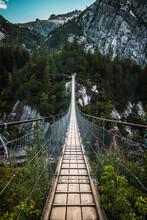 Wooden Long Footbridge Above T...