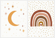 Scandinavian Style Kids Room Decoration. Cute Hand Drawn Moon And Rainbow Nursery Wall Art For Baby Boy And Baby Girl. Vector Twin Illustration Set Ideal For Cards, Invitations, Posters.