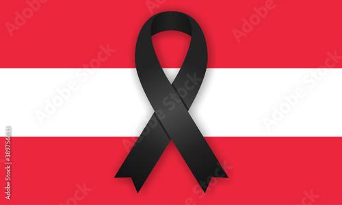 Schwarze Schleife - Flagge Österreich Canvas Print