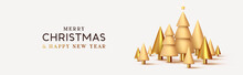 Christmas Banner. Abstract Design Metallic 3d Conical Christmas Trees, Pine Gold And Beige Colors. Horizontal Header For The Site. Xmas Objects. Vector Illustration