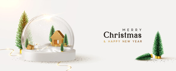 Happy New Year and Merry Christmas banner. Xmas Snowball with trees and house. Glass snow globe realistic 3d design. Festive Christmas object. vector illustration