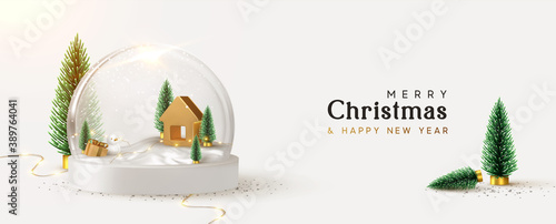 Fototapeta Happy New Year and Merry Christmas banner. Xmas Snowball with trees and house. Glass snow globe realistic 3d design. Festive Christmas object. vector illustration obraz