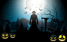 Halloween Death With Grim Reaper  And Pumpkins In The Graveyard