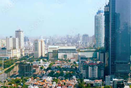 Jakarta city skyline with urban skyscrapers in the day
