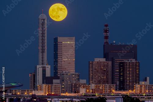 満月のさいたま新都心 Fototapeta