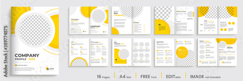 Corporate business brochure template layout, company brochure design, multipage design with yellow shapes,