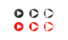 Red And Black Play Icon Set. Multimedia Buttons. Vector Flat Cartoon Illustration For Web Sites And Banners Design