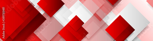 Red and grey glossy squares abstract tech banner design. Geometric vector background