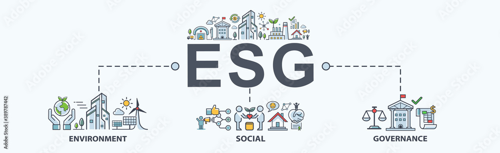 Fototapeta ESG banner web icon for business and organization, Environment, Social, Governance, corporate sustainability performance for investment screening.