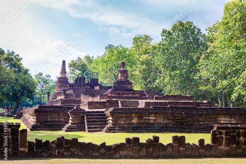 Landmark of Buddha image made of ancient bricks in the Kamphaeng Phet Historical Park, Thailand Canvas Print