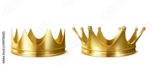 Golden crowns for king or queen crowning headdress Wallpaper Mural