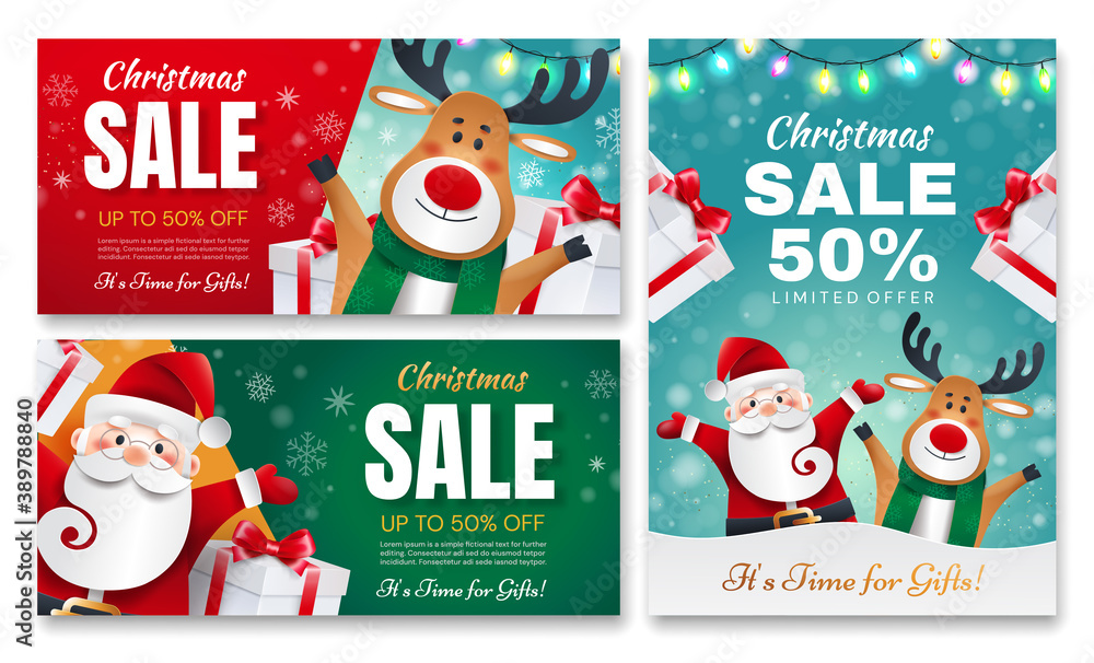 Fototapeta Set of Christmas gift flyers. Santa Claus and Deer with gifts announces holiday discounts.
