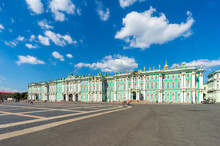 The State Hermitage Museum (Winter Palace) In St. Petersburg, Russia.  Travel And Architecture.
