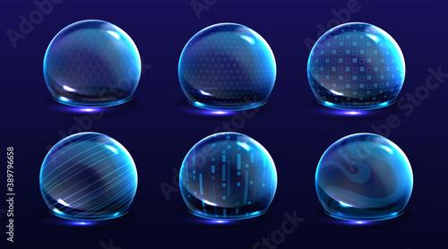 Force shield bubbles, various energy glow spheres Canvas Print