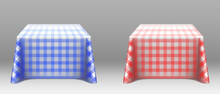 Checkered Tablecloths On Squar...