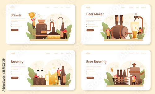 Brewery web banner or landing page set Fototapet