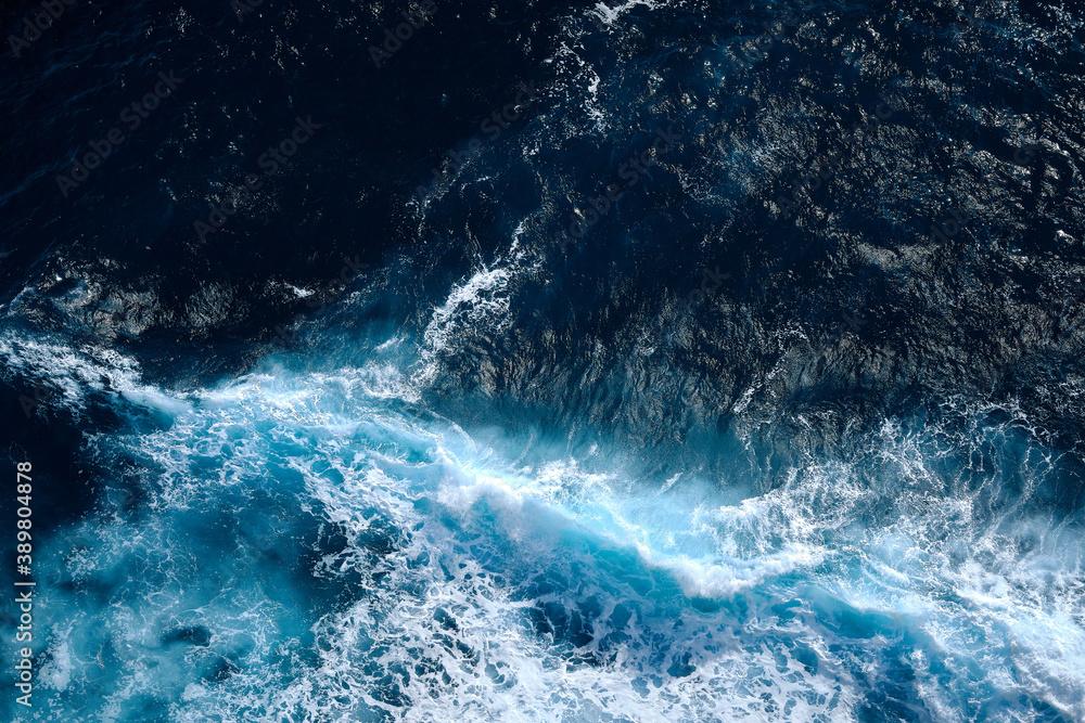 Fototapeta Aerial view to waves in ocean Splashing Waves. Blue clean wavy sea water