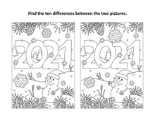 Year 2021 Find The Ten Differences Picture Puzzle And Coloring Page With Year 2021 Heading And Winter Scene