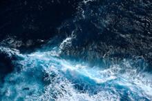 Aerial View To Waves In Ocean ...
