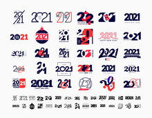 Mega Collection Of 2021 Happy New Year Signs. Set Of 2021 Happy New Year Symbols. Greeting Card Artwork, Brochure Template. Vector Illustration With Black Holiday Labels Isolated On White Background.