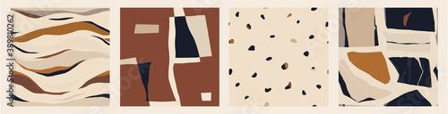 Fototapeta Modern minimalist abstract pattern set. Creative collage contemporary seamless patterns. Fashionable template for design. Bohemian style.  obraz