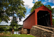Sachs Covered Bridge Surrounded By Greenery In Pennsylvania, The US