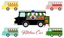 キッチンカー・ハンバーガー販売のイラスト/Illustration Of Kitchen Car And Hamburger Sales