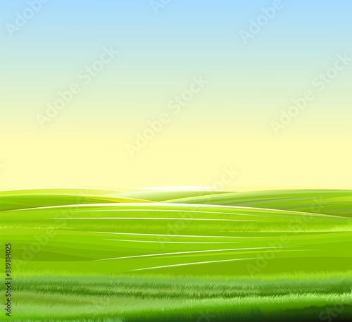 Fotografia, Obraz Sunrise, meadow hills
