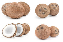 Group Of Coconut Close-up On W...