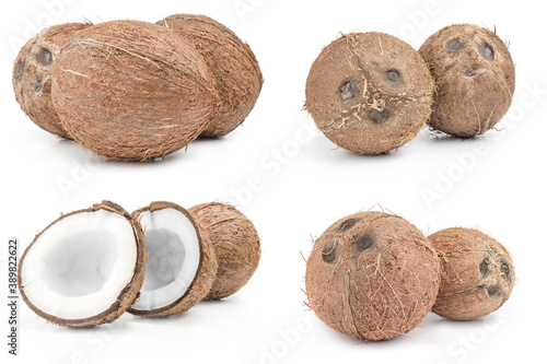 Group of coconut close-up on white Fototapeta
