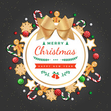 Merry Christmas And Happy New Year Greeting Background Card With Traditional Sweets, Cookies, Candy Cane, Gingerbread Man And Gold Bow.