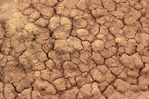 cracks in clay soil, dry surface of the earth Fototapet