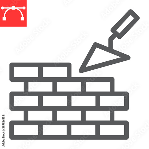 Brickwork line icon, construction and trowel, build brick wall sign vector graphics, editable stroke linear icon, eps 10 Fototapete