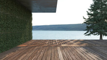 Wood Deck, Concrete Wall And S...