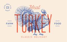 Turkey. Template Label. Vintag...