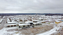 Solar Roofs In New Home Subdivision In Winter