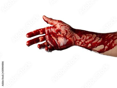 Valokuva Bloody hand isolated on white background.