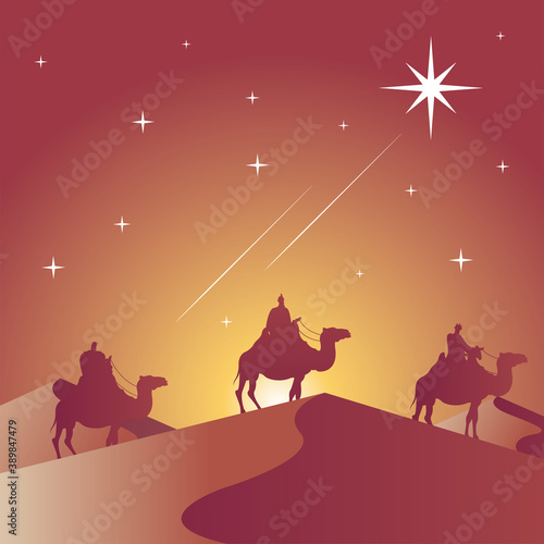 Foto happy merry christmas card with magic kings in camels silhouette scene