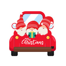 Dwarf Gnomes Wearing Red Hats Hold Gifts In The Trunk To Go To Celebrate Christmas