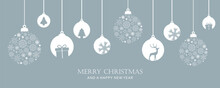Merry Christmas Card With Hanging Ball Decoration Vector Illustration EPS10
